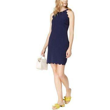 maison Jules Womens Scallop-Trim Shift Dress