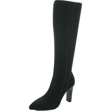 Charles by Charles David Womens Davis Knee-High Boots Pointed Toe Slip On - Black