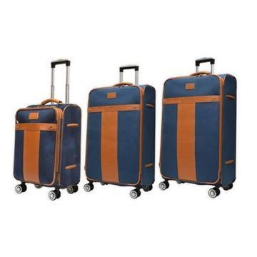 Adrienne Vittadini Canvas 3-Piece Spinner Luggage Set in Blue