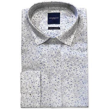 Men's Modern-Fit Performance Stretch Wrinkle-Resistant Floral Stripe Print Dress Shirt