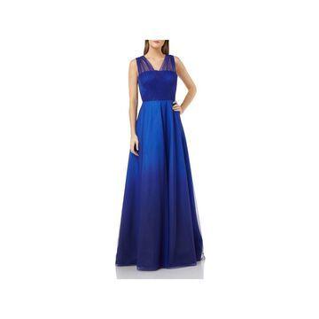 CARMEN MARC VALVO Blue Sleeveless Full-Length Dress 6