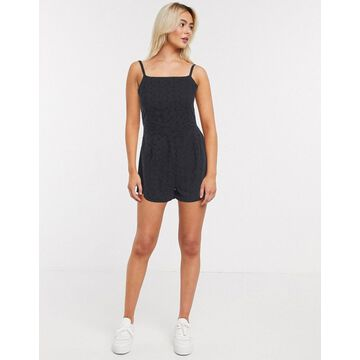 QED London cami strap broderie anglais romper in black