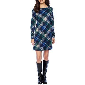 Jessica Howard Long Sleeve Plaid A-Line Dress
