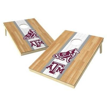 NCAA Wild Sports 2' x 3' Hardwood Design Tailgate Toss Platinum Cornhole Set