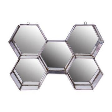 A&B Home Nico Octagonal Wall Mirror in Silver