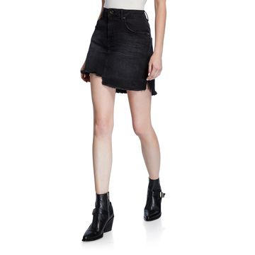 2020 Mini High Waist Frayed Skirt