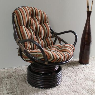 International Caravan Bali Swivel Rocker Chair with Chenille Cushion