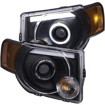 ANZO 2008-2012 Ford Escape Projector Headlights w/ Halo Black