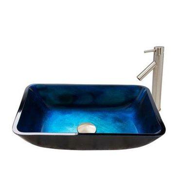 VIGO Glass Rectangular Vessel Bathroom Sink with Faucet