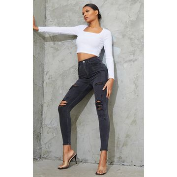 PrettyLittleThingWashed Black Distressed 5 Pocket Skinny Jean