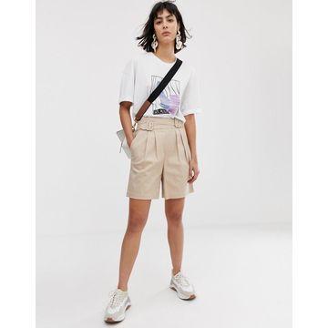 ASOS WHITE high waist belted shorts