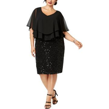 Alex Evenings Womens Plus Sequinned Lace Cocktail Dress