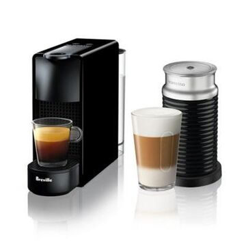 Nespresso by Breville Essenza Mini Espresso Maker Bundle with Aeroccino Frother in Black