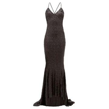 Norma Kamali - Fishtail-hem Sequinned Maxi Dress - Womens - Black