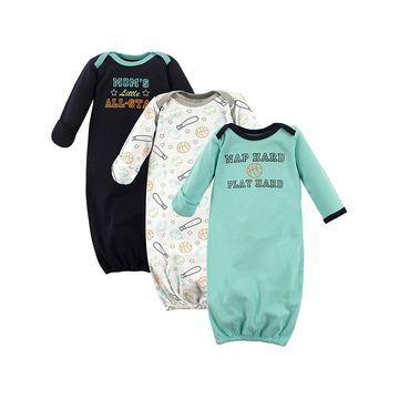 Luvable Friends Boys' Infant Gowns Sports - Blue Sports Gown Set - Newborn