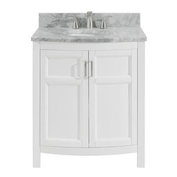 allen + roth Moravia 30-in White Single Sink Bathroom Vanity with Natural Carrara Marble Top
