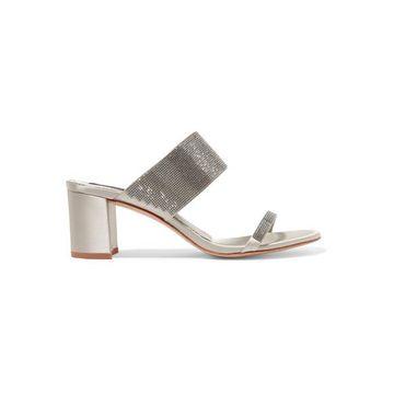 Pedro Garcia - Xina Crystal-embellished Satin Sandals - Silver