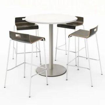 KFI Round Designer White Bistro Table Set, 4 Jive Series Stools (Brown - 36