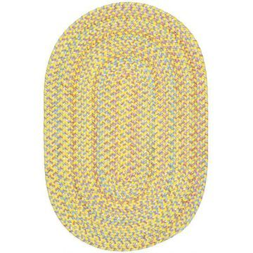 PT14R120X156 10 x 13 in. Playtime Yellow & Multicolor Oval Rug