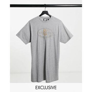 Reclaimed Vintage Inspired RV crest logo t-shirt dress in gray-Grey
