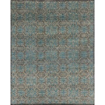 ESSXEQ-02TIBB26K0 2 x 20 ft. x 6 in. Transitional Essex Collection Hand Knotted Wool Rug - Twill & Blue