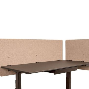 Offex Classroom, Library, Office Desk Mounted Partition Divider 2 Piece Desktop Privacy Panel, Desert Sand - 60