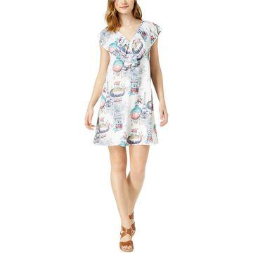 maison Jules Womens French Balloon Print Flounce Dress