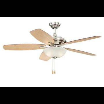 """Vaxcel Lighting Valencia 52 Valencia 52"""" 5 Blade Indoor Ceiling Fan - Light Kit and Fan Blades Included Satin Nickel Fans Ceiling Fans Indoor Ceiling"""