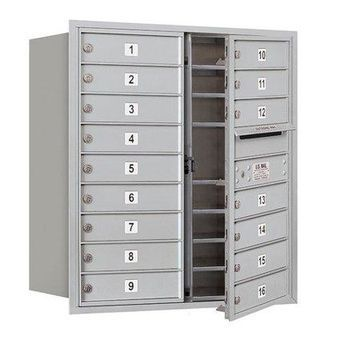 Salsbury Industries 16 Door Front Load 4C Horizontal Mail Center with 1 Parcel Lockers