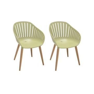 Armen Living Nassau Outdoor Arm Dining Chairs Finish with Legs - Set of 2