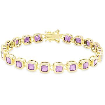 Dolce Giavonna Gold Over Sterling Silver Square Gemstone Link Bracelet