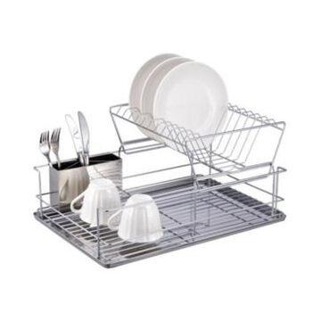Home Basics 2-Tier 3 Piece Steel Dish Drainer