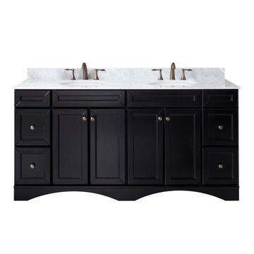 Virtu USA Talisa 72-in Espresso Undermount Double Sink Bathroom Vanity with Italian Carrara White Marble Top in Brown