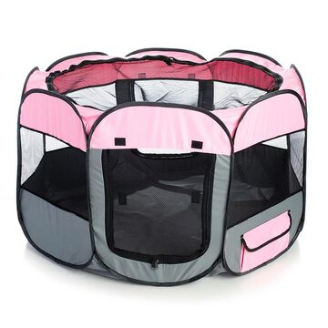 Pet Life All Terrain Lightweight Easy Folding Wire Framed Collapsible Travel Pet Playpen Pink And Grey, Large, Pink / Gray