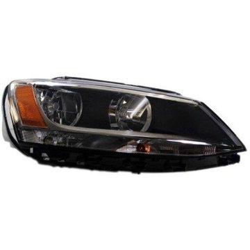 Headlight Depo - 11-17 Volkwagen VW Jetta Sedan 13-16 Jetta Hybrid Head Lamp Assembly Halogen RIGHT HAND / PASSENGER SIDE CAPA Certified