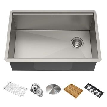 Kraus Kore Workstation Undermount 27-in x 19-in Stainless Steel Single Bowl Workstation Kitchen Sink All-in-One Kit with Drainboard | KWU110-27