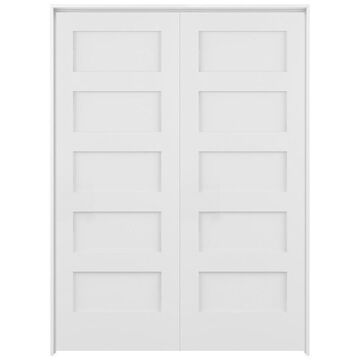 ReliaBilt Shaker 60-in x 80-in White 5-Panel Equal Solid Core Prefinished Pine MDF Universal Inswing Double Prehung Interior Door