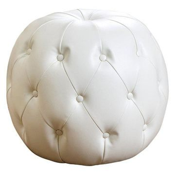 Abbyson Living Thistle Tufted Leather Ottoman, Ivory