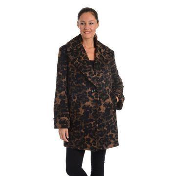 Kensie Women's Leopard-Print Cocoon Coat