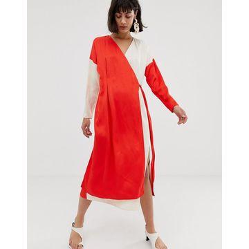 ASOS WHITE contrast satin wrap dress