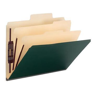 """Smead SuperTab Classification Folder, Oversized Tab, 2 Dividers, 2"""" Expansion, Letter Size, Dark Green, 10 per Box (14012)"""