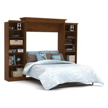 Bestar Versatile By Bestar 115'' Queen Wall Bed Kit, Tuscany Brown