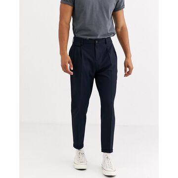 Selected Homme slim fit tapered smart pants in navy