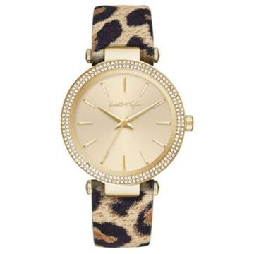 Women's Kendall + Kylie Gold Tone with Leopard Printed Leather Stainless Steel Strap Analog Watch 40mm