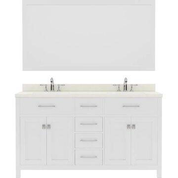 Virtu USA Caroline 60-in Double Bath Vanity in White with Dazzle White Top and Square Sink with Polished Chrome Faucet and Mirror