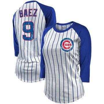 Women's Majestic Threads Javier Baez White/Royal Chicago Cubs Pinstripe Player Name & Number Raglan 3/4-Sleeve T-Shirt