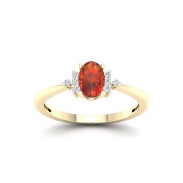 Imperial Gemstone 10K Yellow Gold Oval Cut Madeira Citrine 1/20 CT TW Diamond Women's Ring