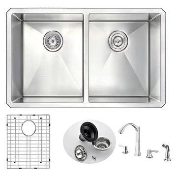 ANZZI Vanguard Undermount 32 In. Double Bowl Kitchen Sink w/ Soave Fau
