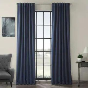 Exclusive Fabrics Thermal-insulated Solid Blackout 96-inch Curtain Panel Pair (50 X 96 - Nocturne Blue)