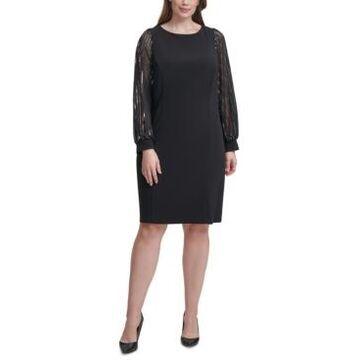 Jessica Howard Plus Size Chiffon-Sleeve Sheath Dress